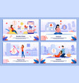 active and happy pregnant woman banners set vector image vector image