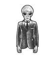 alien businessman sketch vector image