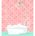 bathroom interior with bathtub full of foam on vector image