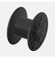 black cable coil mockup realistic style vector image vector image
