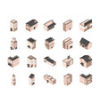 building isometric style icons set vector image