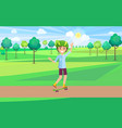 cheerful teen skating in summer park banner vector image vector image
