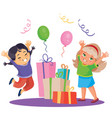 children celebrate a happy holiday and they were vector image vector image