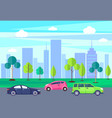 cityscape with skyscrapers and transportation cars vector image vector image