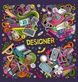 colorful doodles cartoon set designer vector image vector image