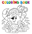 coloring book with pirate crab vector image