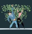 couple in rain of money vector image