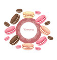 delicious macaroons round card for menu vector image vector image