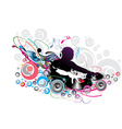 dj man playing tunes vector image vector image