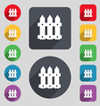 Fence icon sign A set of 12 colored buttons and a vector image