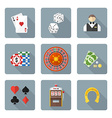 flat style colored various gambling icons vector image vector image