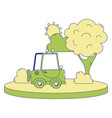 full color agrimotor car in the city with tree and vector image vector image