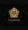 gold ornamental logo floral design element vector image vector image