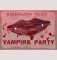 halloween vampire party feminine lips in blood vector image