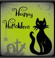 halloween with black cat vector image vector image