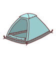 hand drawn tent sketch colored vector image