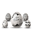 happy easter eggs different texture isolated vector image vector image