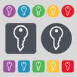 Key icon sign A set of 12 colored buttons Flat vector image vector image
