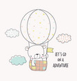 little bear in a hot air balloon vector image vector image