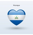 Love Nicaragua symbol Heart flag icon vector image vector image