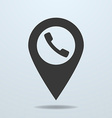 Map pointer with a phone symbol vector image vector image