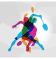 Modern Badminton Players In Action Logo vector image vector image