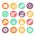 money colored icons set coins hand credit card vector image vector image