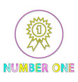 number one icon in linear outline style vector image