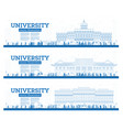 outline university campus set study banners vector image