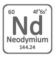 periodic table element neodymium icon vector image vector image