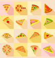 pizza icons set flat style vector image