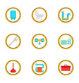 plumbing problem icons set cartoon style vector image vector image