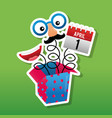 prank comic box with mask calendar and mouth vector image