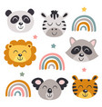 set isolated baby animals faces and rainbows