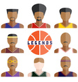 set of legend basketball players icons in flat vector image vector image