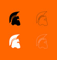 spartan helmet black and white set icon vector image