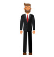 standing bearded businesman in black suti cartoon vector image vector image