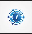 technology design orbit with letter i symbol vector image vector image