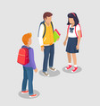 teenage students talking isolated vector image vector image