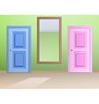 The mirror and door vector image
