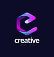 trendy letter e cube shape logo design vector image vector image