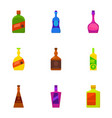 types of alcohol bottle icons set cartoon style vector image vector image