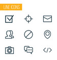 user icons line style set with forbidden note vector image vector image