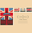 vintage postcard with the big ben and uk flag vector image