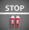 Vintage sneakers stand before stop inscription vector image vector image