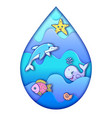 water drop with ocean animals vector image