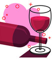 wine in glass line with white background vector image vector image