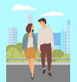 young couple in love walks in a city park people vector image vector image