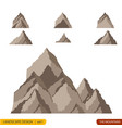 hills and mountains cartoon set vector image