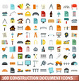 100 construction document icons set flat style vector image vector image